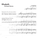Elizabeth - solo piano sheet music